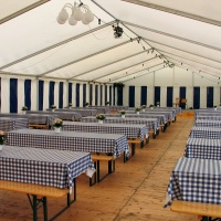 Inside view of a party events wedding celebration banquet tent