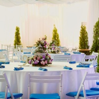 decorated event table in banquet hall