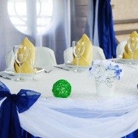 wedding table decoration in blue